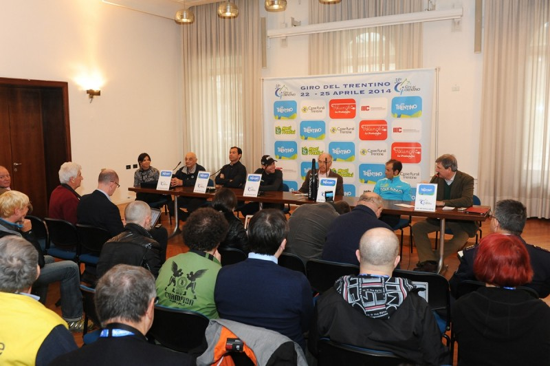 Conferenza Stampa 38°Giro del Trentino 2014 con Michele Scarponi, Cadel Evans e Cassani.
