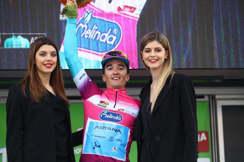 Tour of the Alps. Pello Bilbao Lopez vincitore 1°tappa Arco Folgaria km134 maglia Leader ciclamino, Arco, 16 aprile 2018  Photo: Marco Trovati/Pentaphoto