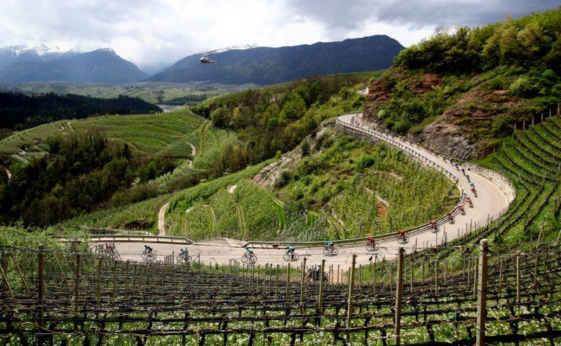 Tour of the Alpes 2019— 4 tappa Baselga di Pinè - Cles  km 133,il gruppo.- Cles, Italia, 25/04/2019.  photo:Pentaphoto/Alessndro Trovati.