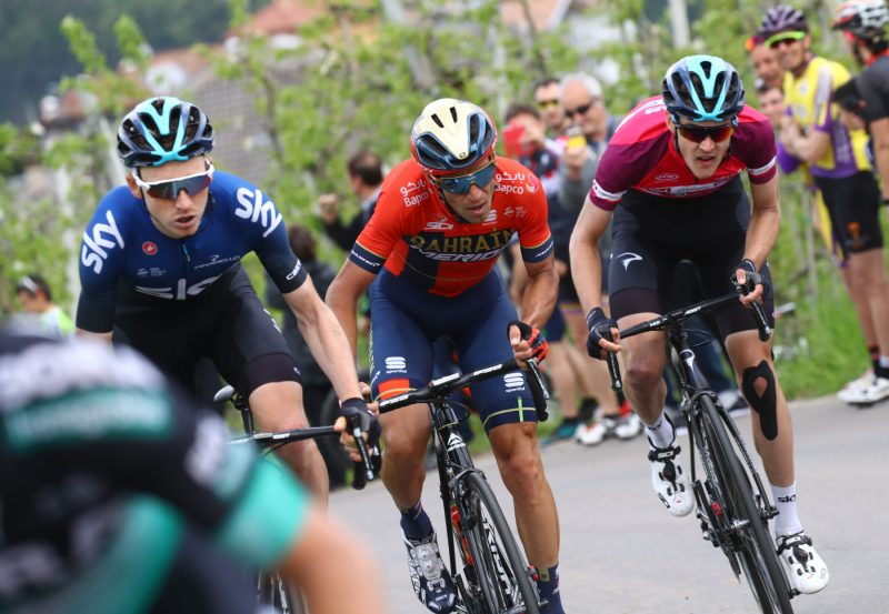 Tour of the Alpes 2019— 4 tappa Baselga di Pinè - Cles  km 133, Tao Geoghegan Hart (Gbr) Vincenzo Nibali (Ita) Pavel Sikavov (Polo)- Cles, Italia, 25/04/2019.  photo:Pentaphoto/Alessndro Trovati.