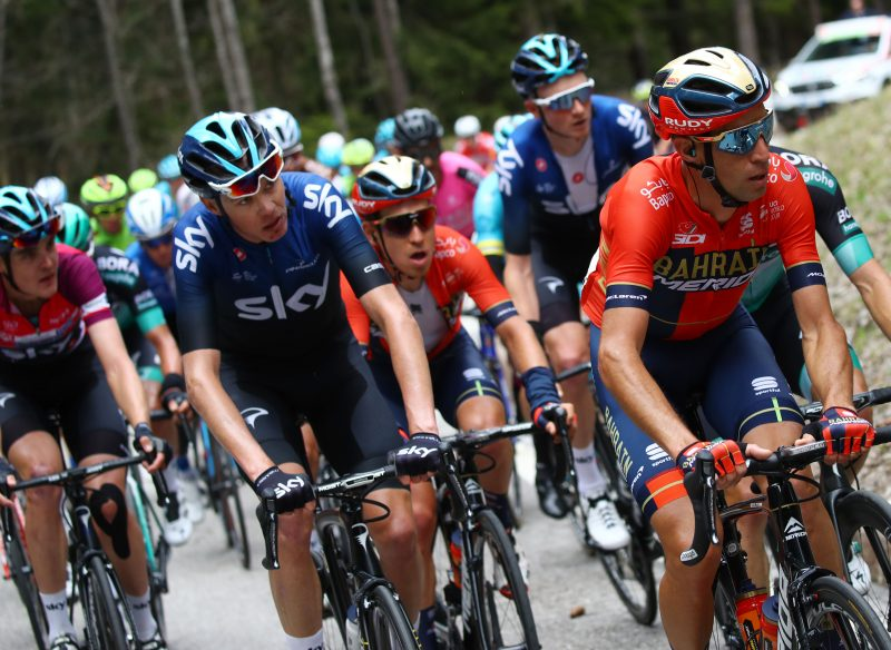 Tour of the Alpes 2019— 4 tappa Baselga di Pinè - Cles  km 133, Chris Froome (Ken) Vincenzo Nibali (Ita) - Cles, Italia, 25/04/2019.  photo:Pentaphoto/Alessndro Trovati.