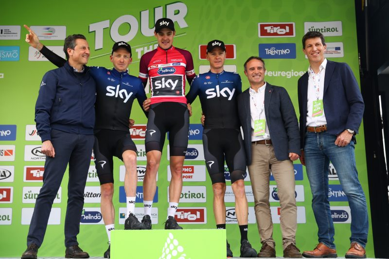 Tour of the Alps 2019— 5 tappa Caldaro Bolzano 147,8Km.  Tao Geoghegan Hart Pavel Sivakov Chris Froome   Bolzano, Italia, 26/04/2019.  photo:Pentaphoto/Alessndro Trovati.