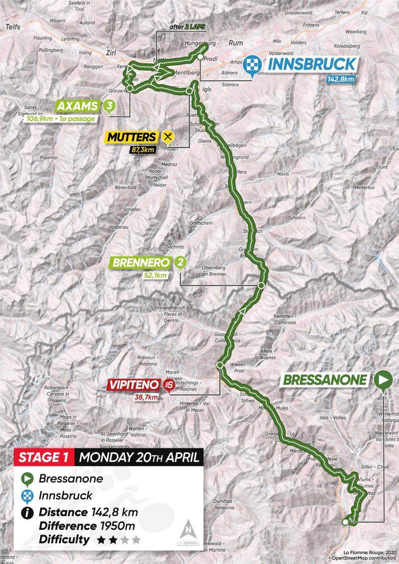 1ª tappa: Bressanone - Innsbruck